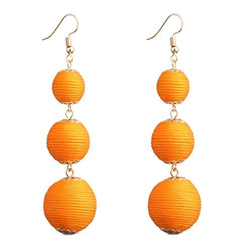 e3f954aaf VK Accessories Thread Ball Dangle Earrings Thread Dangle Earrings Soriee Drop  Earrings orange