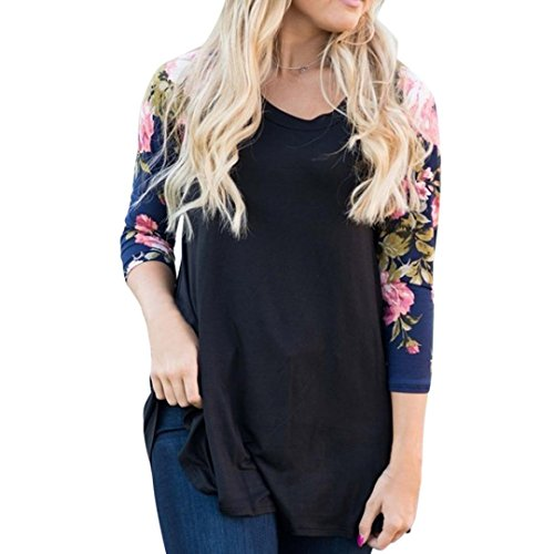 d899914f41e Goddessvan Plus Size Tops, Women Long Sleeve O-Neck Casual Floral Print Shirt  Blouse
