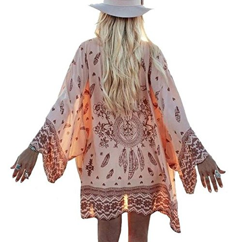 Beautyvan, Women Boho Printed Chiffon Loose Shawl Kimono Cardigan Tops Cover up Blouse S,