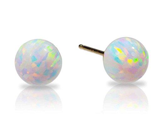 7d26f679b66443 14k Yellow Gold Created Opal Fiery White Round Stud Earrings